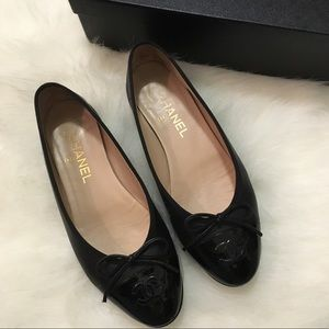 Chanel ballerina flats with patent toe